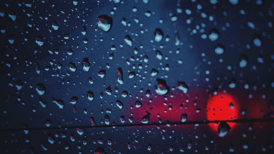 Drop Window Water RainDrop Wet Indoors  Close-up No People Backgrounds Day Nature Sky Rain Car Rany Day Blue Red