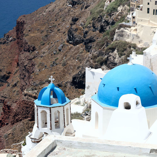 High angle view of whitewashed church at santorini