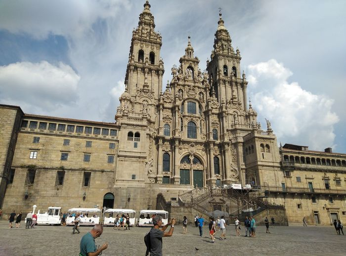 Catedral De Santiago CaminodeSantiago Camino De Santiago Peregrinos Peregrino  Peregrine EyeEm Selects Way Of Saint James Way The Way Trekking Day City Ancient Civilization Ancient History Religion Façade Place Of Worship Sky Architecture Building Exterior