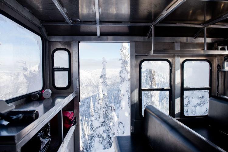 Train passing through window
