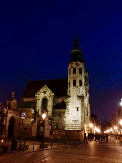 Night Architecture Travel Destinations Outdoors Illuminated Clock Tower Midnight Religion Tower Kraków, Poland