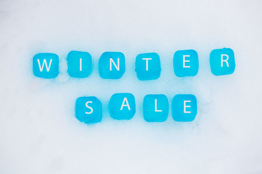 Ice Cubes In The Snow, Ice Cubes, Winter Sale, Sale, Text Western Script Capital Letter No People Indoors  Communication Blue Studio Shot Close-up Letter Alphabet Technology Number High Angle View Computer Key Still Life Copy Space Computer Connection Computer Keyboard Message Keyboard Blue Background Push Button