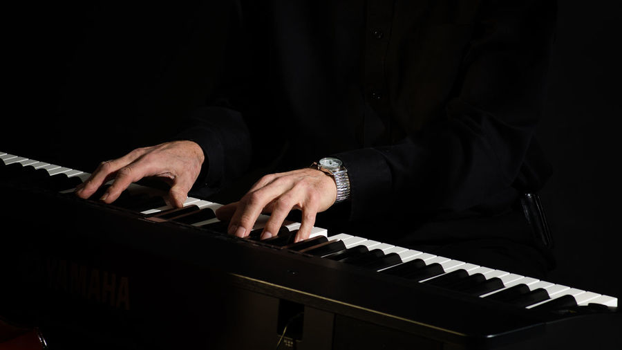 Hands on the Keys Hands Person Piano Keys Piano Player Playing Music Standing