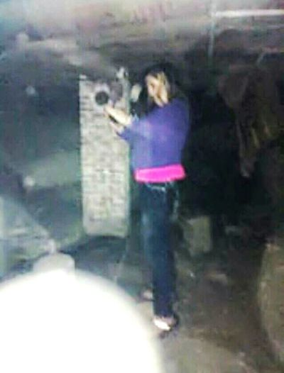Ghost Spirit Photography Smoke From Phone Abandoned Basement scary house Confusion Old Miner Behind Her One Woman And One Ghost