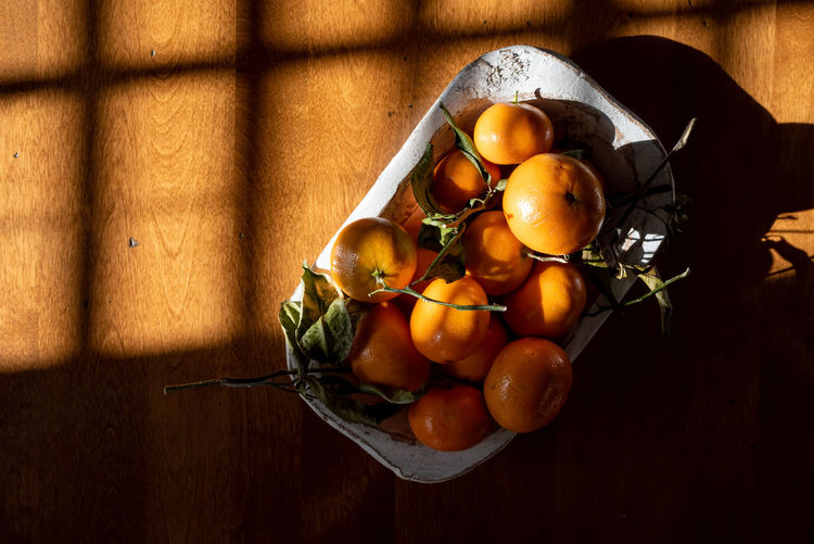 Directly above shot of fruits on table
