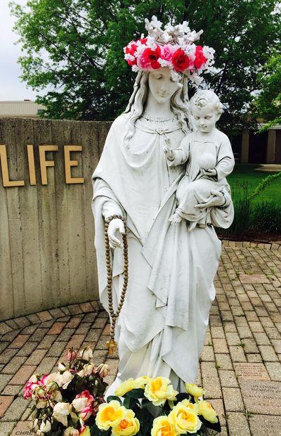St. Catherine Statue Religion Catholic Flowers
