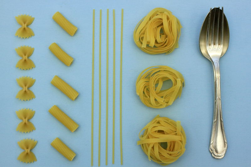 Knolling Close-up Day Directly Above Food Food And Drink Freshness Healthy Eating Indoors  Italian Food Knolling - Concept No People Parallel Pasta Raw Food Ready-to-eat Silver  Spaghetti Spoon And Fork
