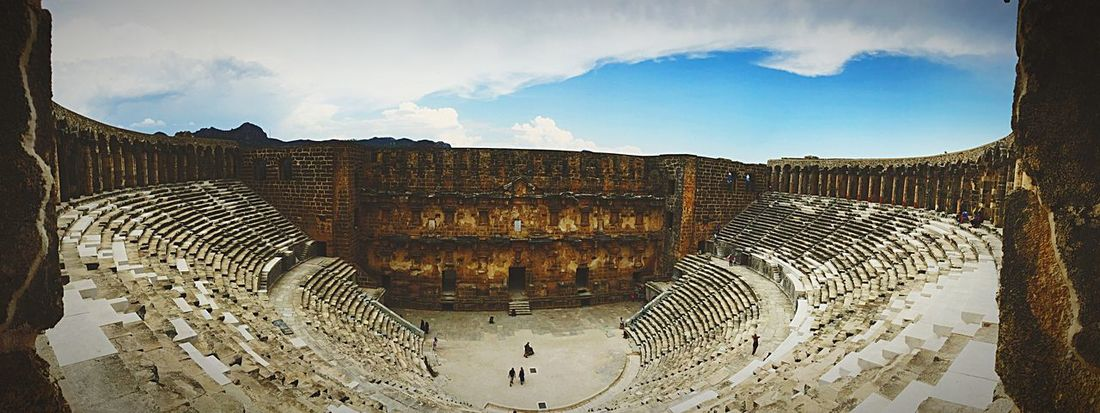 Castle Gladiator Nature Cloud - Sky Fight Built Structure Architecture High Angle View Tourism Wide Angle History Engineering Famous Place Aspendos