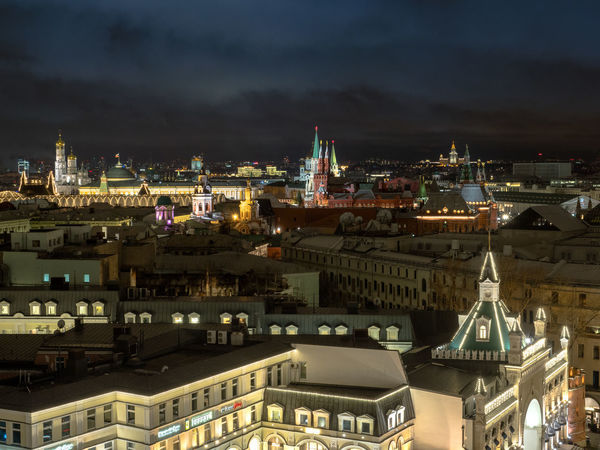 Russia, Moscow, the Kremlin, the Nikolskaya street, Lubyanka, the old center, travel, tourism Moscow Moscow, Russia Russia Russia россия Travel Travel Photography Architecture Building Exterior Built Structure City Cityscape Illuminated Night No People Outdoors Place Of Worship Sky The Kremlin Tourism