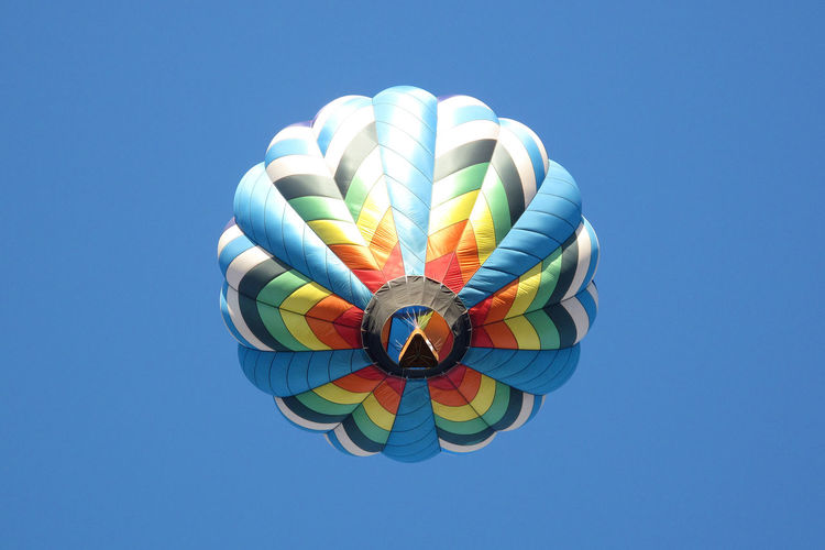 Hot Air Balloon viewed from the bottom. Balloon Balloon Bottom Blue Clear Sky Colorful Colorful Sky Flying Hot Air Balloon Festival Hot Air Balloons Looking Up Multi Colored No People