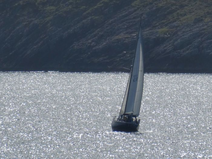 Shimmering Sea and Yacht Yachting Sport Yacht Sea VisitScotland Scotland Shimmering Shimmering Waters Shimmering Sea No People Nature Day Outdoors Water High Angle View Pole Sea Technology Beauty In Nature Sunlight Scenics - Nature Tranquil Scene Nautical Vessel Tranquility