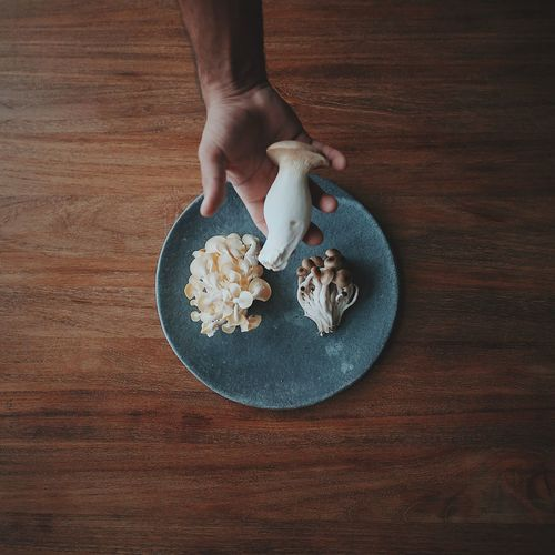 Cropped Hand Holding Edible Mushroom Over Plate