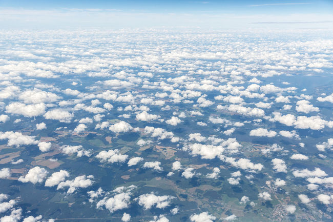 Abundance Aerial View Beauty In Nature Blue Cloud Cloud - Sky Cloudscape Country Europe A Bird's Eye View Fleecy Clouds Fluffy Clouds High High Above High Angle View Landscape Majestic Nature Scenics Summer View From Above Flat White Width World