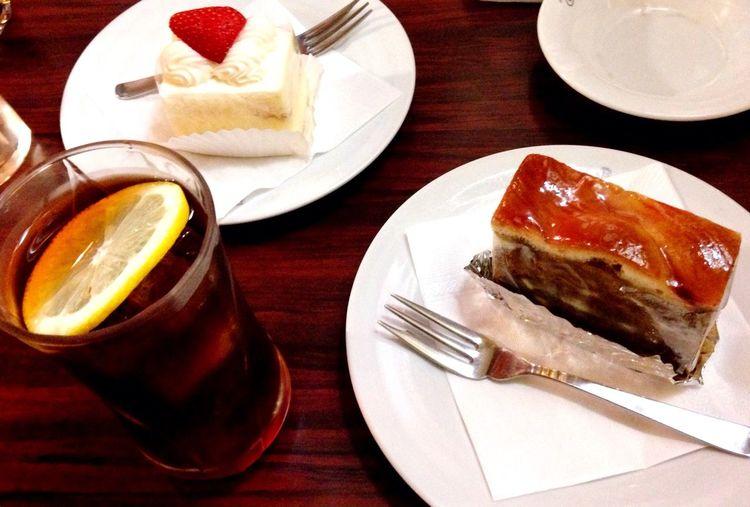 Dessert Cake 喫茶 ポンポン life アメリカンケーキとショートケーキ、レモンティー