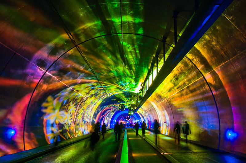 Black Blue Circle Color Colorful Colors Festival Festival Of Lights Fete Des Lumieres France Light Lights Red Silhouette Tunnel Tunnel Vision Urban Urban Geometry Walk Walking Around
