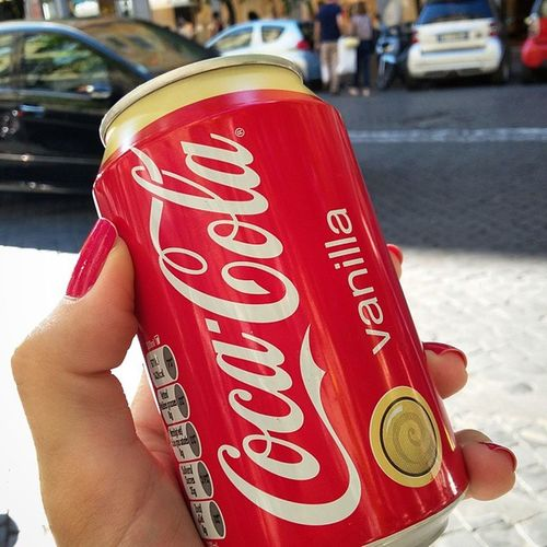 Drinking coke for the first time in many years. I had to try this 😏 Calories Cocacolavanilla Cocacola Coca Cola Snacks Street Streetlife Daily Life Drink Drinking Red Brand Brands