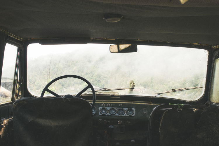 Car Car Interior Close-up Dashboard Day Land Vehicle Mode Of Transport Nature No People Sky Steering Wheel Transportation Vehicle Interior Vehicle Seat Window Windshield Summer Road Tripping