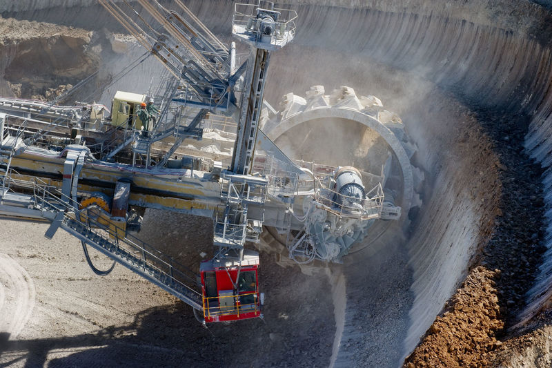 High angle view of bucket-wheel excavator at stoilensky mining and processing plant