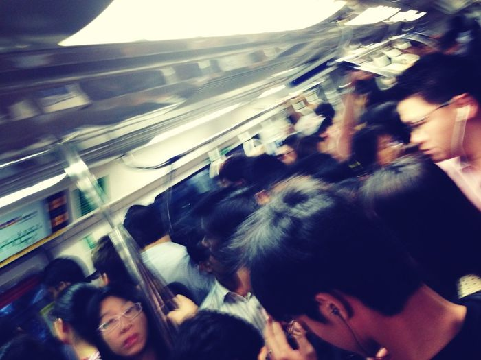This Morning C: Riding The Train Stuck in the corner. :| Public Transportation Crowds