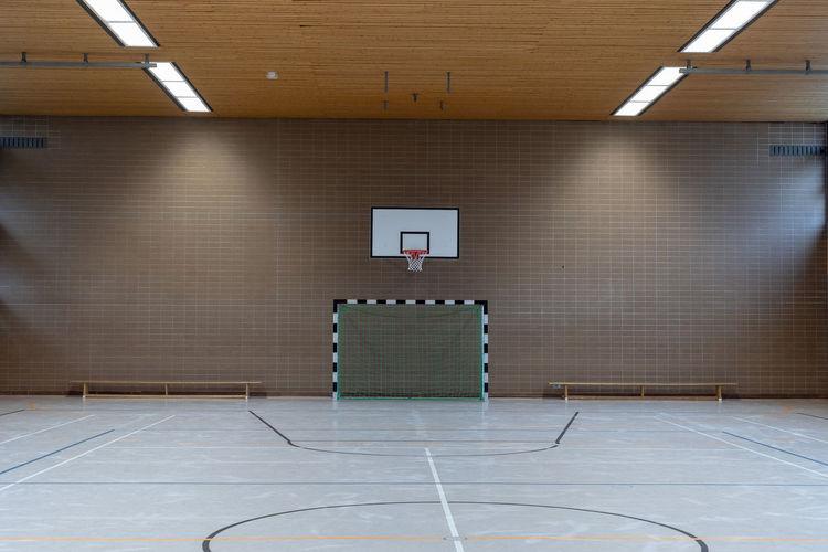 View of basketball hoop against building