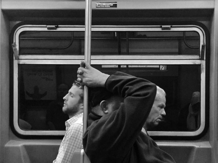 Friday Transportation Mode Of Transport Side View Window Public Transportation Travel Vehicle Interior Men Day Outdoors Mature Adult Public Transport Blackandwhite Street Photography New York City EyeEm Best Shots - Black + White NYC EyeEm Best Shots This Week On Eyeem Shootermag The Street Photographer - 2017 EyeEm Awards