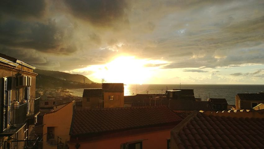 Sunset Building Exterior City No People Cloud - Sky Sunlight Storm Cloud Tirrenic Sea Relaxing Place Horizon Over Water Travel Destinations Cefalú, Sicilia, Mare, Paesaggio Landscape Tirreno HuaweiP9 Huawei Leica HuaweiP9Photography Huaweiphotography