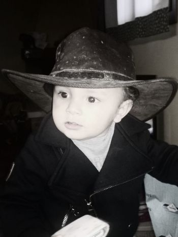 Black Background Blackandwhite Child Childhood Children Only Country Life Cowboy Hat Lifestyles Looking At Camera Lovehim♡ Mycowboy Nephew  One Person People Portrait Real People Sameblood