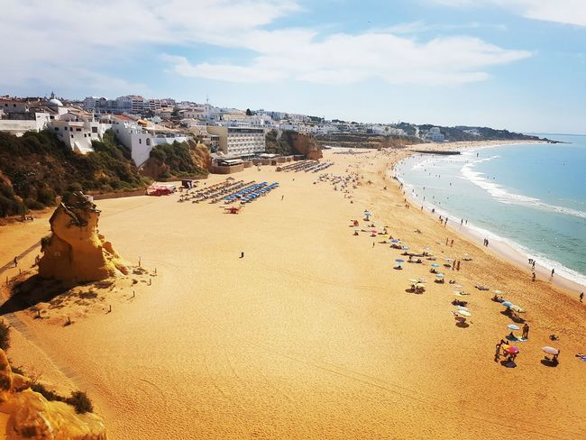 Beach Sand Sea Vacations Water Nature Sky Cloud - Sky Outdoors Day Summer Horizon Over Water Tranquility Travel Destinations Scenics Beauty In Nature No People Wave Beach Volleyball Portugal Faro Algarve Albufeira