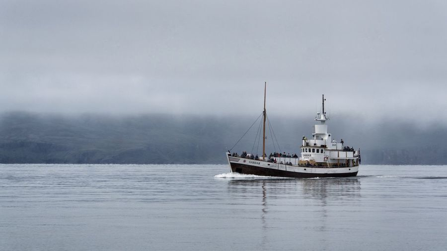 Husavik Iceland Nautical Vessel Sky Water Nature Sea Beauty In Nature Sailboat Whale Whale Watching Fog Tranquility