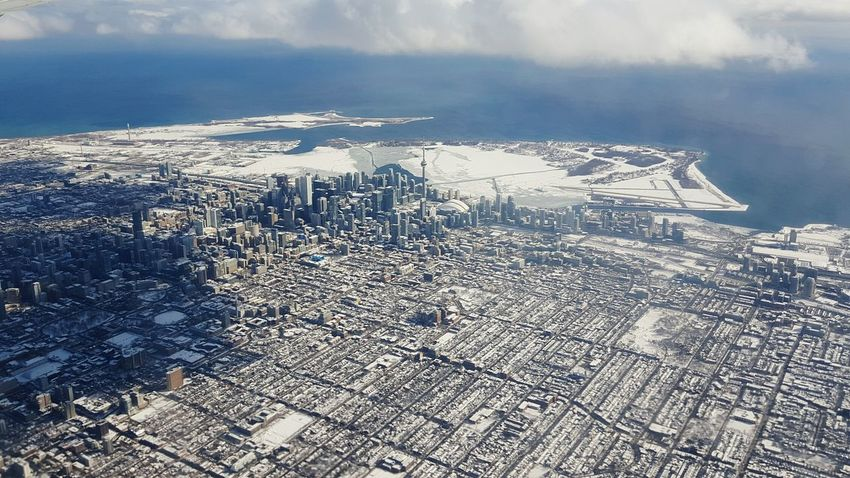 Toronto from Above Cityscape Urban Toronto Window View Taking Photos Enjoying Life Waterfront Winterscapes Winter Travel Airplaneview Hello World Birds Eye View Skyline