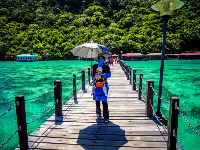 Bohey Dulang Island Bohey Dulang Hijab Mother And Son Nature Water Island Muslim Travel Muslimah Muslimtraveler Muslim Woman Sabah Island Borneo Island Semporna Sea Semporna