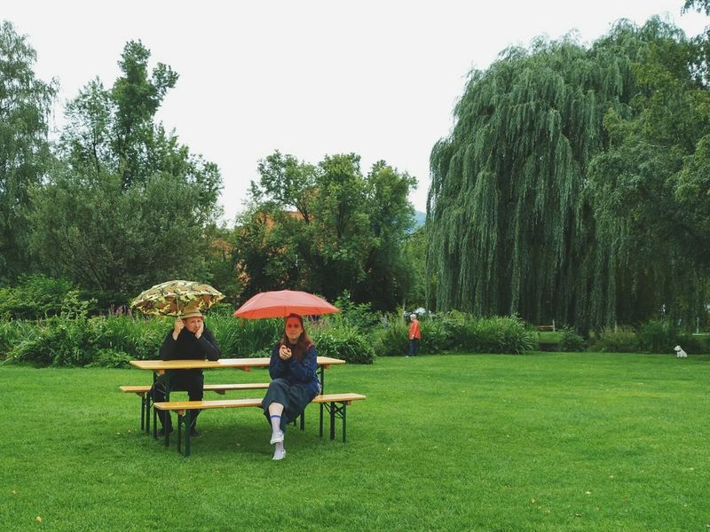 Grass Tree Green Color Leisure Activity People Park - Man Made Space Nature Rain Rainy Days Umbrella Adults Only Adult