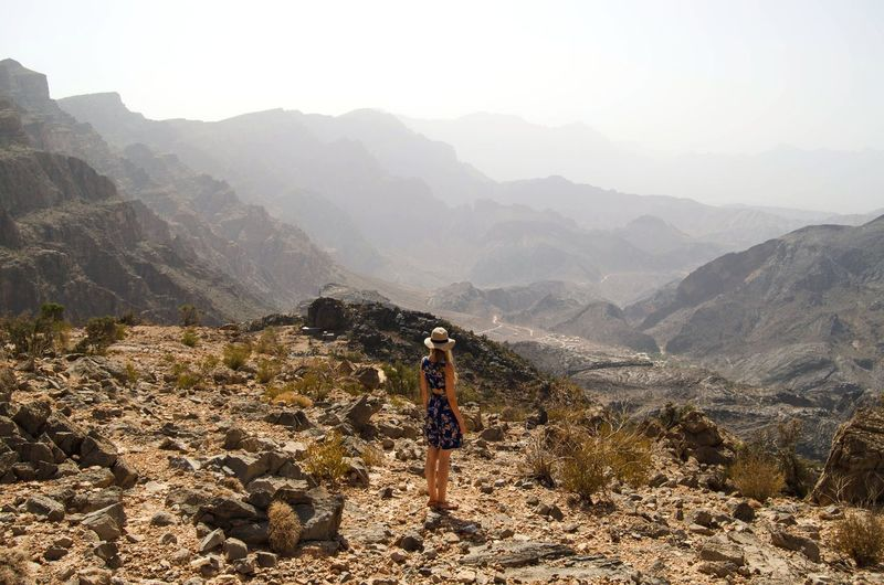 Girl Traveling Travel Photography Nature View From Above Viewpoint Desert Rocky Desert EyeEm Selects Mountain Young Women Women Sky Foggy Hiker Fog Mist Mountain Range Mountain Peak Rocky Mountains