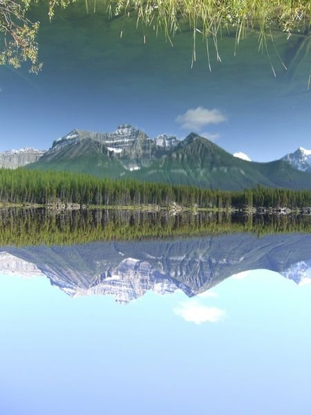 In Banff , Canada a beautiful Water Reflections. Be careful, Beupside Down photo!