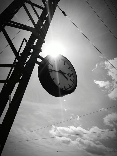 Blackandwhite Black And White Urban Train Station Clock Time Clouds And Sky Sun