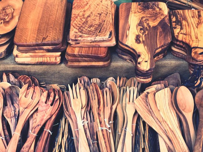 High Angle View Of Cutting Boards And Wooden Cutlery For Sale In Market