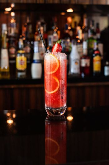 Close-up of strawberry lemonades in  glass