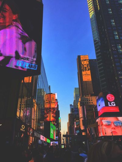 Times Square New York City NYC New York Building Exterior Architecture Built Structure City Sky Illuminated Office Building Exterior Skyscraper Building Nature Night Tall - High Low Angle View Multi Colored No People Lighting Equipment Outdoors Modern Clear Sky