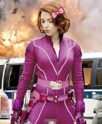 Black Widow The Avengers Hellokitty Pink Scarlett Johansson