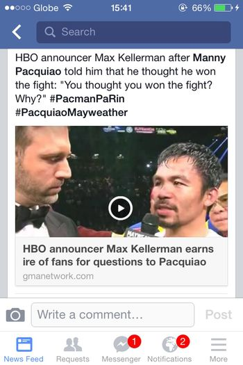 "@Max_Kellerman: It seems to you like only PacMan thought he won. Well, for the record, a lot of people thought so too that they even BOOed Mayweather after the fight. No offense meant, I'm just stating it matter-of-factly. So, watcha think?? Still asking ""WHY?""?????? Maypac Pacquiao Vs. Mayweather Screenshot ImmaPacManBias Pacman Oneforpacman"