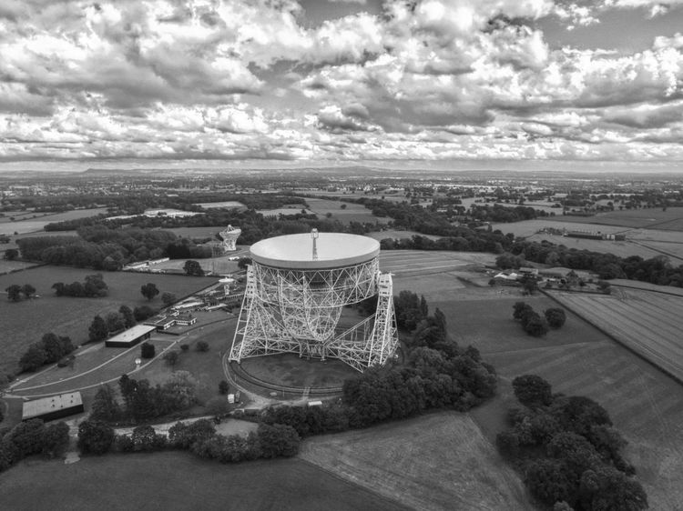 Jodrell Bank Black and White // Cloud - Sky Sky Built Structure No People Day Outdoors Architecture Nature Drone  Dji Phantom Dronephotography Cheshire Jodrell Bank Grass Growth Nature Tree Tranquility Travel Destinations Building Exterior Landscape Field Beauty In Nature Scenics Agriculture