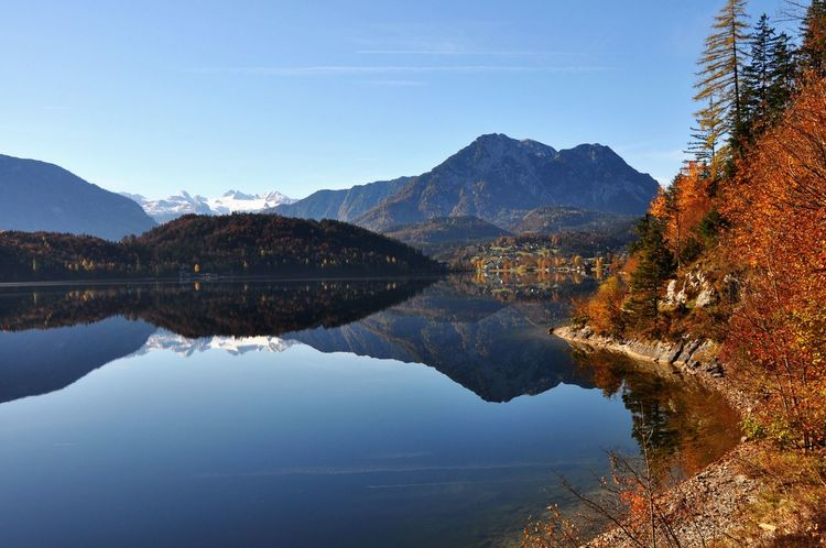 Autumn Altaussee Austria Mountain Reflection Mountain Range Water Tranquil Scene Lake Scenics Beauty In Nature Tranquility Nature Waterfront Idyllic No People Outdoors Clear Sky