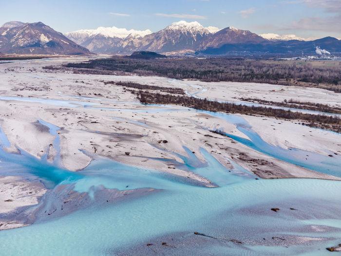 Emerald waters of the cornino lake and the tagliamento river. magic