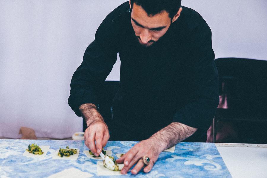 Cooking Food Hands Man Preparing Food