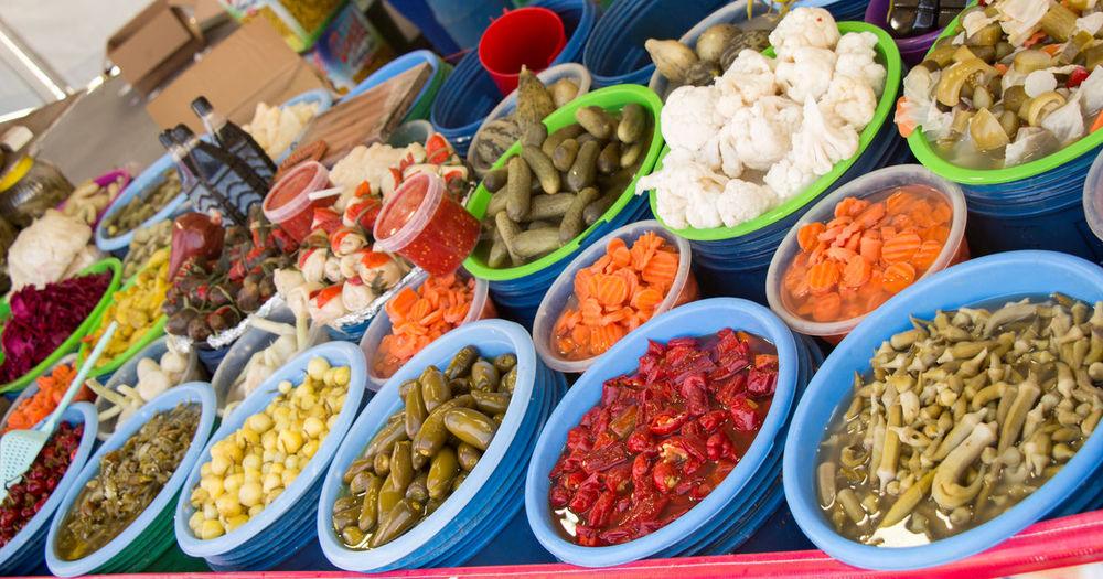 High angle view of various fruits at market stall