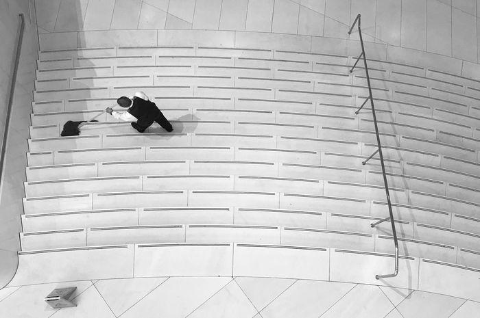 Slippery when wet. Minimalism Blackandwhite Bw Top Perspective Life Cleaning Work Stairs NYC New York Manhattan
