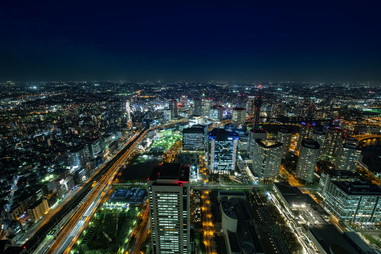 City Building Exterior Cityscape Architecture Illuminated Night Built Structure High Angle View Building City Life Sky Office Building Exterior Residential District No People Aerial View Road Skyscraper Travel Destinations Nature Modern Outdoors Yokohama Japan