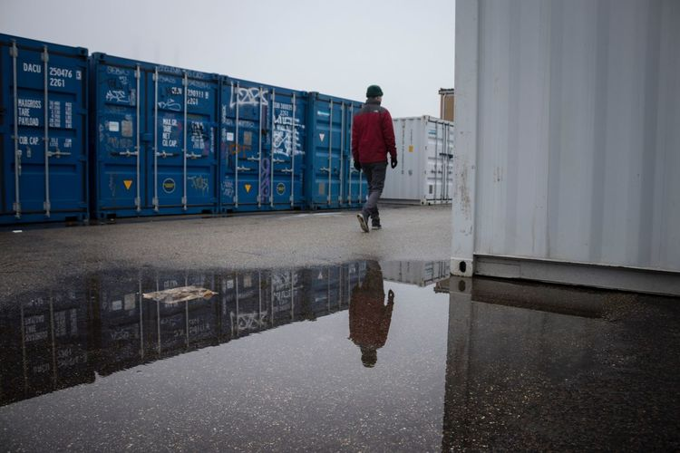Walk into the unknown Cold Day Blue Reflections In The Water Container One Person One Man Only Adult Men Full Length Day Only Men Outdoors People Sky