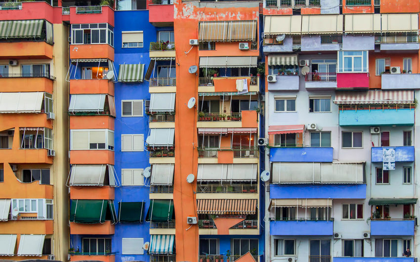 Full frame shot of multi colored residential buildings