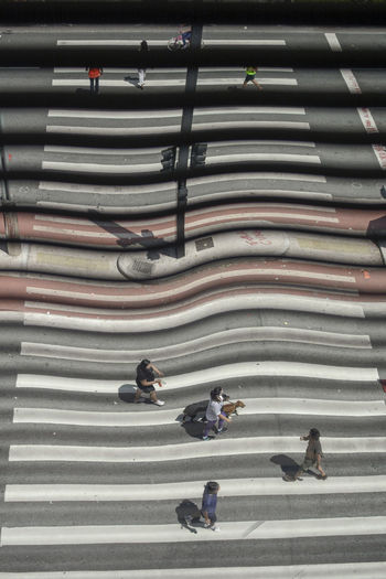 Love creating Distortion and movement in my images! From Above, At Sao Paulo Museum of Art windows, watching the busyiest avenue in Brazil on a Sunday Morning, The avenue is closed every sunday for leisure activities. Avenida Paulista Brazil From Above  Leisure Activity Lifestyles Path Photography In Motion Saopaulo Street Street Stripes Streetphotography Stripes Everywhere Urban Spring Fever Walkway Showing Imperfection The Street Photographer - 2016 EyeEm Awards The Innovator